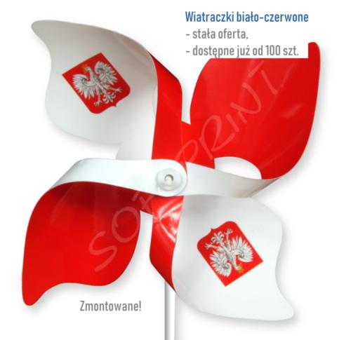 wiatraczki biało-czerwone z Godłem